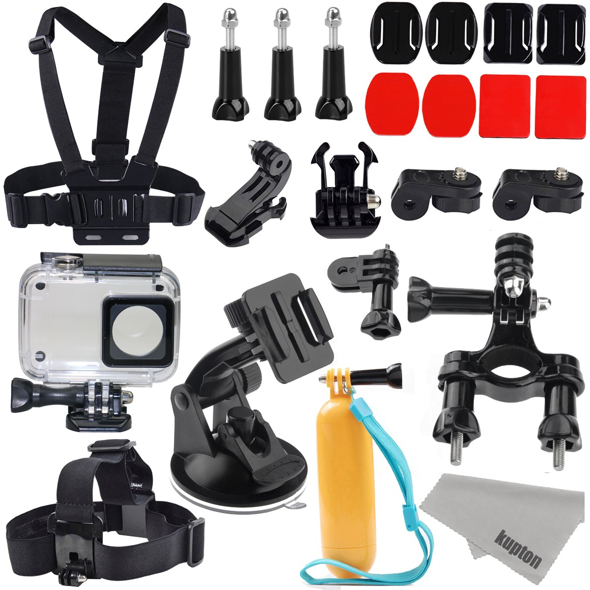 Xiaomi Yi 2/4K Accessories Kit, Kupton Xiaoyi 4K II Waterproof Housing Case+ Head Strap+ Chest Harness+ Car Suction Cup+ Bike Handlebar Mount+ Floaty Handle Action Camera Starter Kit