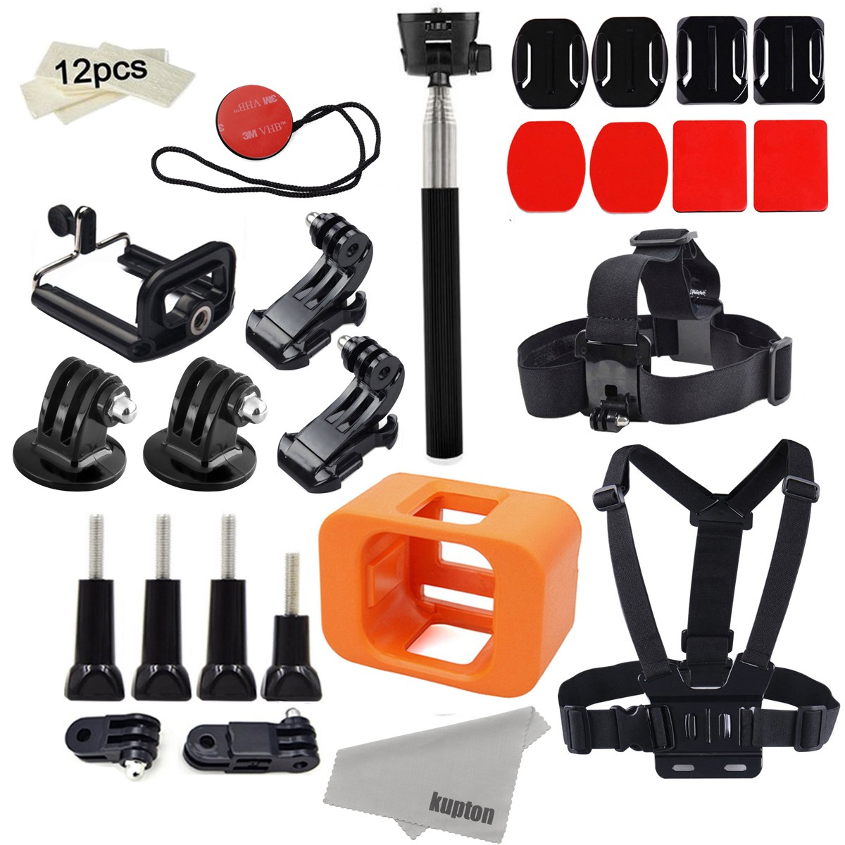 Kupton Accessories for GoPro Hero 4 Session Mounts Bundle GoPro Camera Floaty Chest Harness Head Strap Monopod Stick Starter Kit