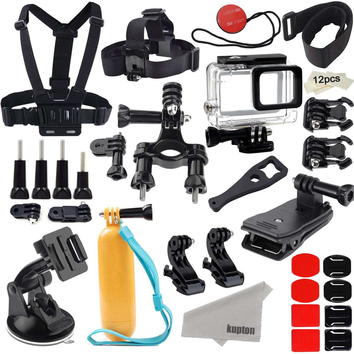 Kupton Accessories for GoPro Hero 7 Black/ Hero 6/ Hero 5/ Hero 2018 Action Camera Include Waterproof Housing Case Chest Head Strap Bike Car Mount Floating Grip Bundle Set Kit for Go Pro Hero 7 6 5
