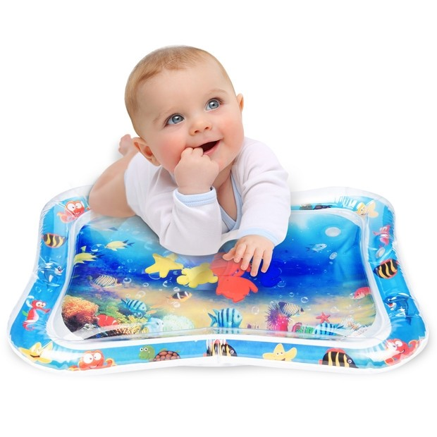 Kupton Upgraded Inflatable Tummy Time Water Play Mat, Leak-proof and Durable Play Water Mat for Infant and Toddlers, Fun time Play Activity Center with Floating Sea Animals to Discover