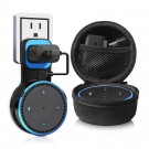 Kupton Wall Mount for Echo Dot 2, Outlet Wall Mount Hanger Holder Stand Clip & Protective Carrying Storage Case Accessories for Echo Dot 2nd Generation without Messy Wires or Screws – Black