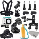 Xiaomi Yi Action Camera Accessories Kit: Kupton Xiaoyi Waterproof Housing Case + Head Strap Mount + Chest Harness + Car Suction Cup+ Bike Handlebar Mount + Floating Hand Grip Sport Camera Starter Kit
