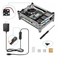 Kupton Power Supply and Case Kit for Raspberry Pi 4 Model B with Fan + 4 × Heatsinks +Charging Adapter with On/Off Switch + Acrylic Protective Shell for RPi 4B