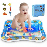 Kupton Upgraded Inflatable Tummy Time Water Play Mat, Leak-Proof and Durable Play Water Mat for Infant and Toddlers, Fun Time Play Activity Center with Floating Ocean Animals for Discovery